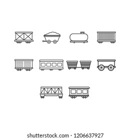 cargo,freight,passenger train and oil petroleum tank icon set