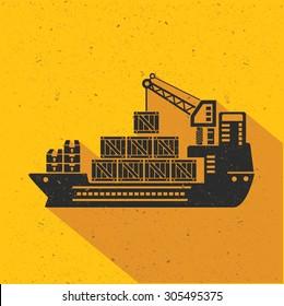 Cargo,shipping,transport flat design,yellow version,vector