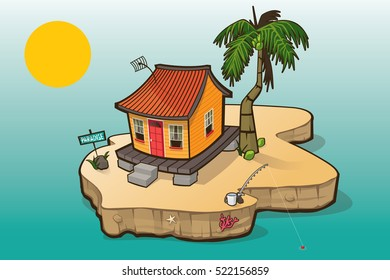 A Caribbean House on a small island with palm tree, coconuts, fish rod, bucket.