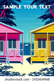 Caribbean Island landscape with traditional boats, palm trees, houses and the sea in the background. Handmade drawing vector illustration. Retro style poster.