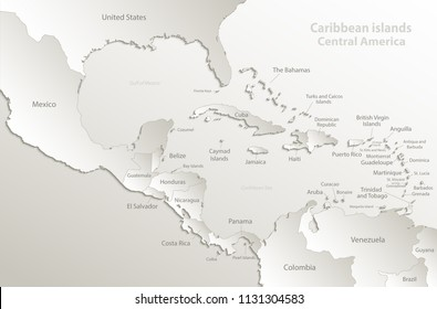 Caribbean islands Central America map, separate states, card paper 3D natural vector