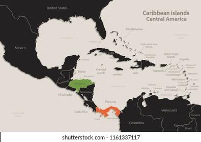 Caribbean islands Central America map Black colors blackboard separate states individual vector