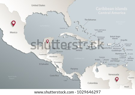 Caribbean Islands Central America Map State Stock Vector (Royalty ...