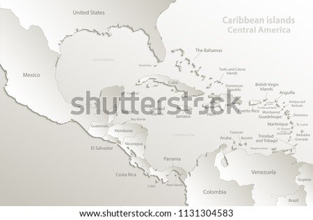 Caribbean Islands Central America Map Separate Stock Vector (Royalty ...