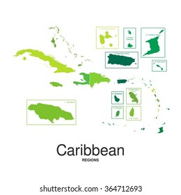 The Caribbean Islands regions map