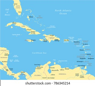 The Caribbean Map - Detailed Vector Illustration