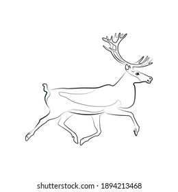 Caribou. Outlined silhouette illustration of a running caribou isolated on a white background. Vector 10 EPS.