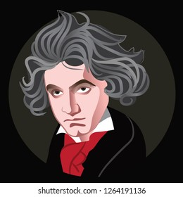 Caricature of composer Ludwig Von Beethoven. Eps10 vector illustration.