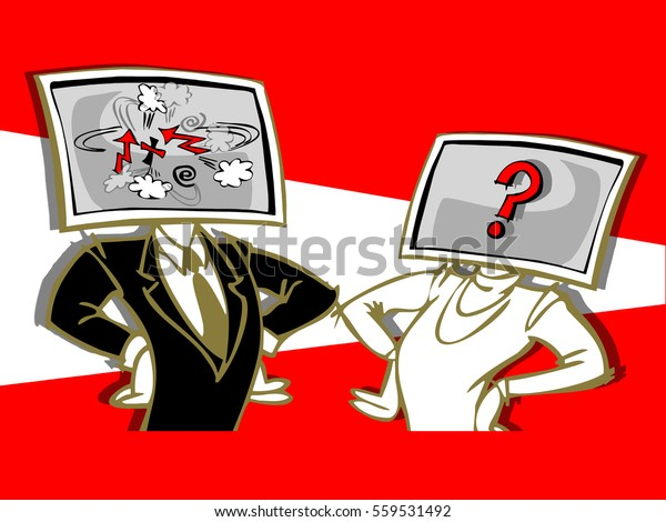 caricature of couple with computer face,insult each other, cartoon