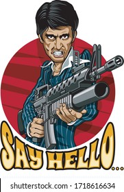 caricature drawing of gangster holding m16 with grenadelauncher