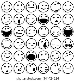 Caricature Emoticons on White. Vector emoticons set.