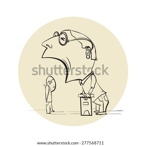 54ecf3362b3 Caricature Evil Boss Screaming Subordinate Stock Vector (Royalty ...