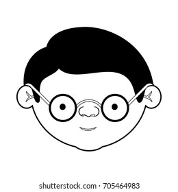 caricature face grandfather with glasses and haircut in black silhouette sections vector illustration