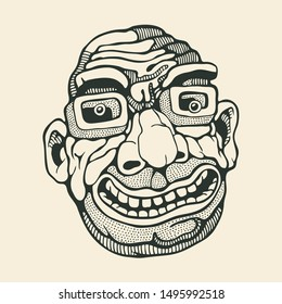 Caricature head of an adult man with glasses. Drawing Style. Vector illustration.
