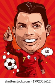 Caricature illustration of cristiano ronaldo, Born on February 5, 1985, Is an er Portugal footballer currently playing for Juventus - Serie A and the national team as a striker.