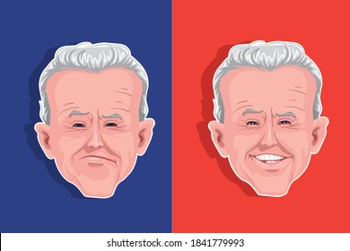 Caricature of Joe Biden. Political satire cartoons. Political satire caricature election or vote.President of United States of America. The 46th US President election day is nov 3,2020