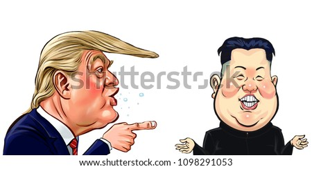 caricature of Kim Jong Un and Donald Trump,character Vector.May2018