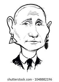 Caricature portrait of president Russia Vladimir Putin. Vector illustration.