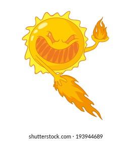 caricature of sunburn, sunstroke, harmful ultraviolet rays