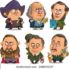 Caricature. Vector. A set of famous American historical celebrities. First President, pioneer of America, inventor of jeans, sewing machine manufacturer, inventor of a car. cartoonist.