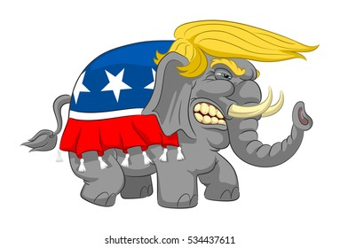 Caricature wicked elephant with blonde  hair. Elephant Donald Trump. Caricature of Donald Trump.