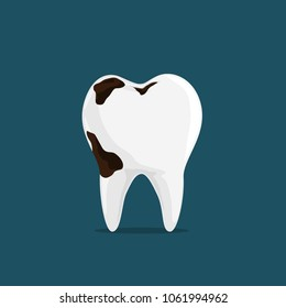 Caries Dental Problems, Big Hole in the Human Teeth iSolated on Dark Blue Background.