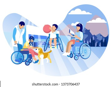 Caring for Children Autistic Vector Illustration. Children Wheelchairs Enjoy Life, Play Dog and Ball. Development Physical Skills, Abilities Children. Organization Leisure and Developmental Centers.