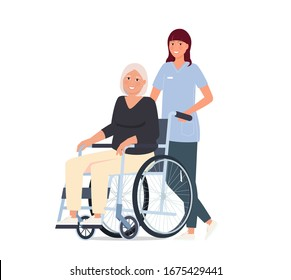 Caring for the elderly. A nurse is taking her grandmother in a wheelchair.