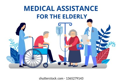 Caring for an elderly person. Medical assistance to the pensioner. Old man on a wheelchair in a hospice. Illustration in flat style for web banners and brochures.