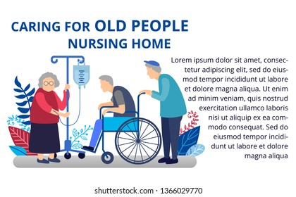 Caring for an elderly person. Medical assistance to the pensioner. Old man on a wheelchair in a hospice. Nursing home. Illustration in flat style for web banners and brochures.