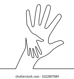 Caring hand logo continuous line drawing concept charity vector illustration