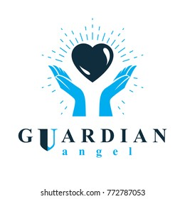Caring hands hold heart as the concept of love and treatment. Guardian angel vector conceptual emblem.