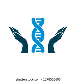 Caring hands hold a model of human DNA. Bioengineering as the direction of genetics, abstract vector scientific symbol best for use in education, science and humanity evolution research.
