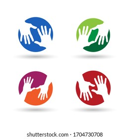 Caring & Helpful Hand Logo. Symbol & Icon Vector Template.