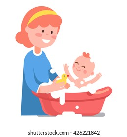 Caring smiling mother washing her baby child in washbowl. Playing with little yellow rubber duck toy. Modern flat style vector illustration cartoon clipart.