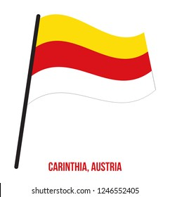Carinthia Flag Waving Vector Illustration on White Background. States Flag of Austria.