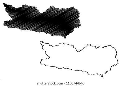 Carinthia (Republic of Austria) map vector illustration, scribble sketch Carinthia map