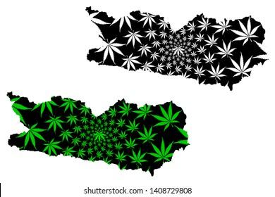 Carinthia (Republic of Austria, States of Austria) map is designed cannabis leaf green and black, Carinthia map made of marijuana (marihuana,THC) foliage,