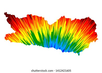 Carinthia (Republic of Austria, States of Austria) map is designed rainbow abstract colorful pattern, Carinthia map made of color explosion,