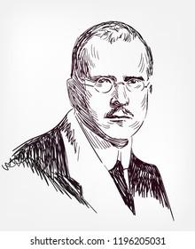 Carl Gustav Jung vector sketch portrait