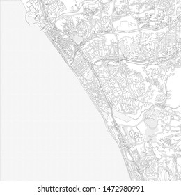 Carlsbad, California, USA, bright outlined vector map with bigger and minor roads and steets created for infographic backgrounds.