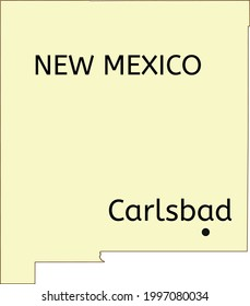 Carlsbad city location on New Mexico state map