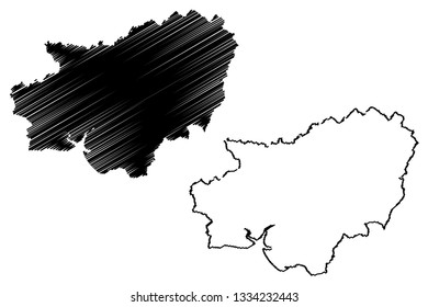 Carmarthenshire (United Kingdom, Wales, Cymru, Principal areas of Wales) map vector illustration, scribble sketch County of Carmarthenshire map