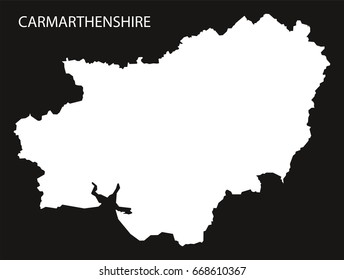 Carmarthenshire Wales map black inverted silhouette illustration