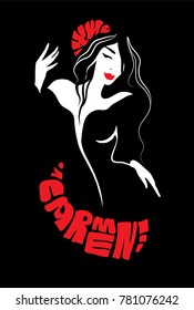Carmen dancer silhouette isolated on white background with flower. Vector illustration
