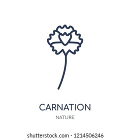 Carnation icon. Carnation linear symbol design from Nature collection. Simple outline element vector illustration on white background.