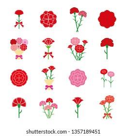 Carnation icon set