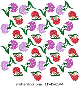 carnations figure pattern. It can be used as wallpaper, gift or wrapping paper, notebook cover, background card for gift card, background print for table or poster. Fabric, textile design.