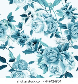 Carnations, Peony and roses  buds with leaves. Different flowers. Seamless background pattern. Vector - stock.