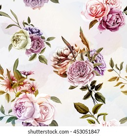 Carnations, Peony and roses with leaves. Watercolor. Seamless background pattern. Vector - stock.